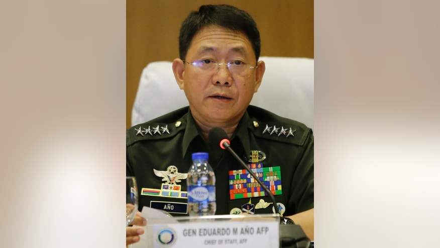 "Philippine military chief General Eduardo Ano answers questions from reporters at Camp Aguinaldo military headquarters in Quezon city, north of Manila, Philippines on Tuesday, Feb. 28, 2017. Abu Sayyaf extremists in the Philippines released a video showing the beheading of German hostage Jurgen Gustav Kantner in the first sign the brutal Filipino militants carried out a threat to kill him after a ransom deadline lapsed over the weekend. The Philippine military confirmed Kantner had been ""mercilessly and inhumanly murdered."" (AP Photo/Aaron Favila)"