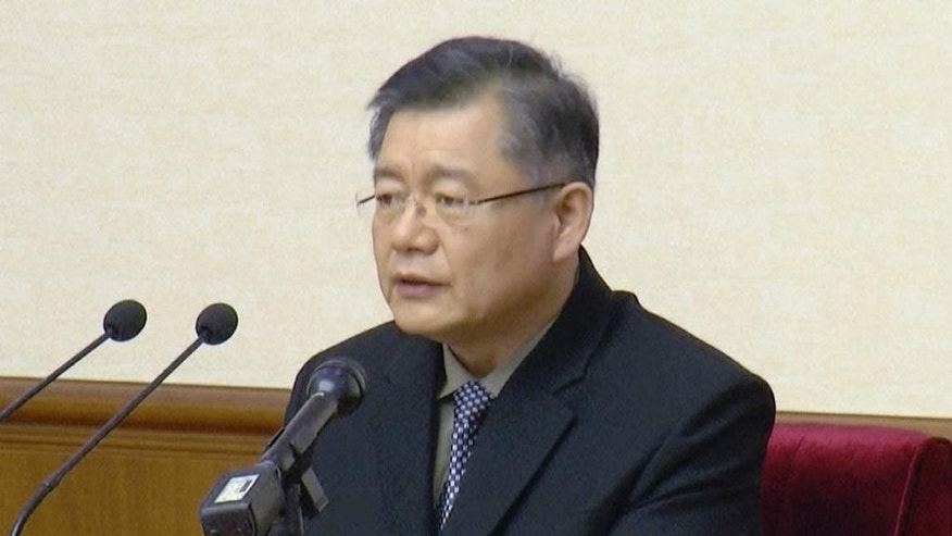 FILE - In this file image made from July 30, 2015, video, Canadian Hyeon Soo Lim speaks in Pyongyang, North Korea. Swedish Ambassador Torkel Stiernlof said in an email to The Associated Press on Wednesday, March 1, 2017, the Canadian pastor serving a life sentence in North Korea has been allowed to meet with the ambassador in Pyongyang and telephone his family. Stiernlof says he met Lim for 40 minutes last week. He said they discussed Lim's health and other matters, but refused to comment further. (AP Photo)