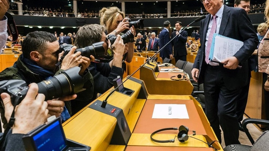 European Commission President Jean-Claude Juncker arrives for a plenary session at the European Parliament in Brussels, Wednesday, March 1, 2017. (AP Photo/Geert Vanden Wijngaert)