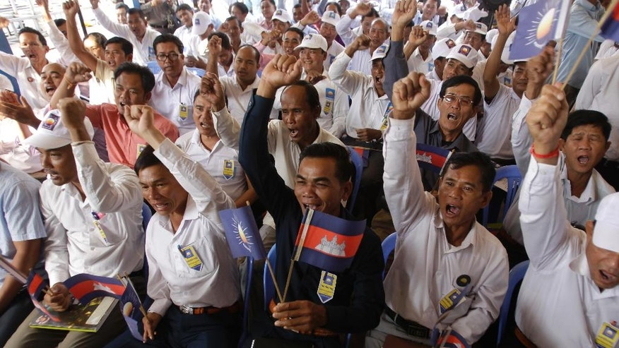 The supporters of opposition Cambodia National Rescue Party (CNRP) attend their party's political congress, in Phnom Penh, Cambodia, Thursday, March 2, 2017. A Cambodia's prominent politician Kem Sokha has been selected Thursday as the new leader of the main opposition party to challenge the upcoming elections with his arch rival long-serving Prime Minister Hun Sen. (AP Photo/Heng Sinith)