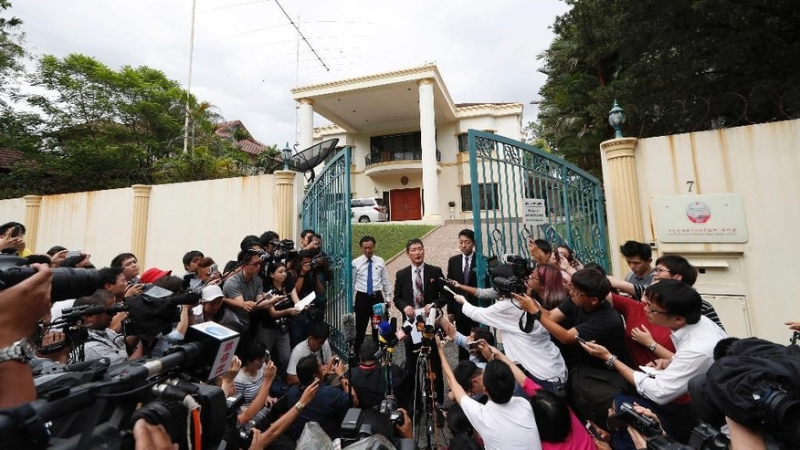 Ri Tong Il, former North Korean deputy ambassador to the United Nations, speaks to journalist outside the North Korean embassy in Kuala Lumpur, Malaysia on Thursday, March 2, 2017.  The North Korean envoy said a heart attack likely killed Kim Jong Nam, not VX nerve agent as a Malaysia autopsy showed, regarding the investigation into the assassination of Kim, the estranged half brother of North Korea's leader Kim Jong Un.  Ri told reporters Thursday that the victim took medication for heart disease, diabetes and high blood pressure.  (AP Photo/Vincent Thian)
