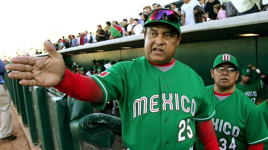 FILE- In this March 4, 2006 file photo, Team Mexico manager Francisco Estrada, left, and pitching coach and former Los Angeles Dodger great, Fernando Valenzuela, right, look out over the field as the team works out before the start of their spring training baseball exhibition game against the Arizona Diamondbacks at Tucson Electric Park in Tucson, Ariz. Estrada's team Los Bravos de Leon reported on Thursday, March 2, 2017, that Estrada is missing since Wednesday, March 1, when he failed to show up for a news conference. (AP Photo/Charles Rex Arbogast, File)