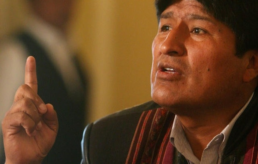 Bolivian president Evo Morales gestures during a press conference with foreign press in La Paz, Bolivia, Friday, Nov. 24, 2006. President Evo Morales said Friday that Bolivia's new constitution should do away with the opposition-controlled Senate in a forceful response to a current boycott of the chamber by conservative lawmakers.    (AP Photo/Dado Galdieri)