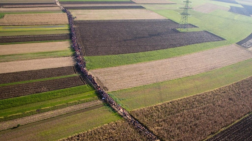 "FILE - In this Oct. 25, 2015 areial view file photo, a column of migrants moves through fields after crossing from Croatia, in Rigonce, Slovenia.  A German newspaper reports that the government planned to close the border with Austria and turn back asylum-seekers in September 2015, but nixed the plan at the last minute., the paper reported Sunday March 5, 2017.  The interior ministry said in a statement it could ""neither confirm nor deny"" the report.  (AP Photo/Darko Bandic.File)"