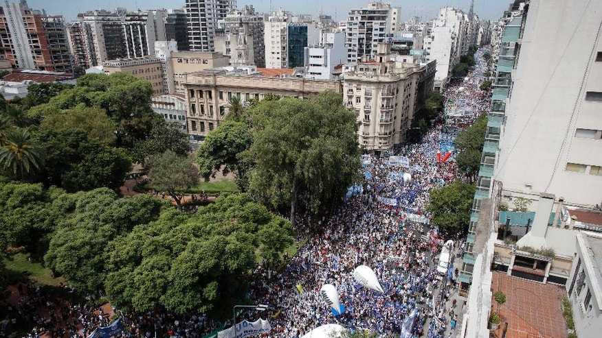 Thousands of teachers march in Buenos Aires, Argentina, Monday, March 6, 2017. Teachers in a nationwide strike have left millions of children without classes in the first serious union conflict for president's Mauricio Macri's administration. (AP Photo/Victor R. Caivano)