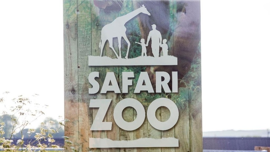 FILE - In this Aug. 6,  2016 file photo of the sign at South Lakes Safari Zoo, formally known as South Lakes Wild Animal Park, in Cumbria, England. Local officials have refused to renew the license of an English zoo where nearly 500 animals have died in the last four years. (Danny Lawson/PA via AP, File)