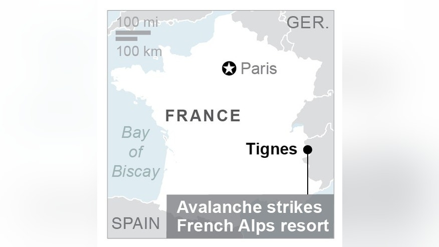 Map locates Tignes resort in France;