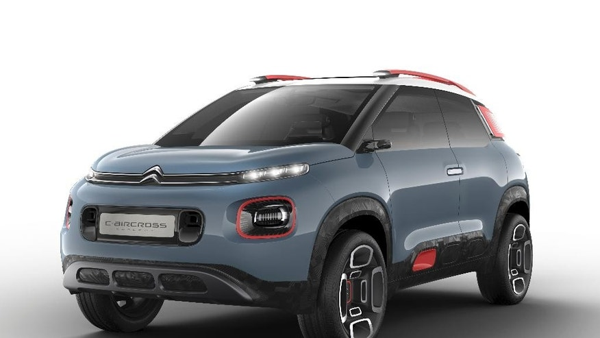 This undated  photo provided by car manufacturer Citroen, shows  a Citoen C-Aircross Concept, car. The car will be shown at the Geneva Auto Show in Geneva, Switzerland that starts Tuesday March 7, 2017 with media days.  Europe's automakers face huge questions: the impact of Britain's decision to leave the European Union, Donald Trump's proposed border tax on imports, the uncertain prospects for electric vehicles. Meanwhile they have to keep selling cars -  in a ferociously competitive market. (Citroen via AP)