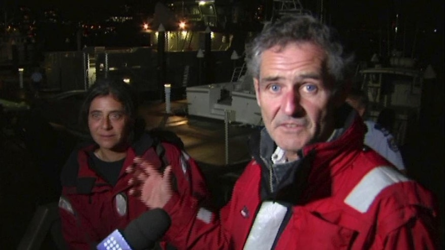 In this Wednesday, March 8, 2017 image made from video, Nick Dwyer and Barbara Heftman are interviewed in Sydney after being rescued off Australia's southeastern coast. The Irishman and French woman have been rescued after their yacht's rudder broke in raging seas between Australia and New Zealand in the midst of the couple's around the globe voyage. (Australian Broadcasting Corporation via AP)
