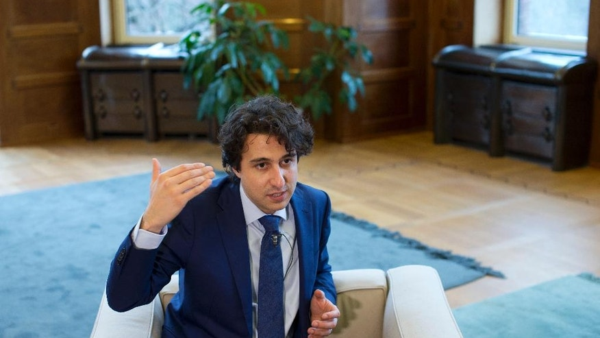 Green Left party leader Jesse Klaver gestures during an interview in The Hague, Netherlands, Wednesday, March 8, 2017. (AP Photo/Peter Dejong)