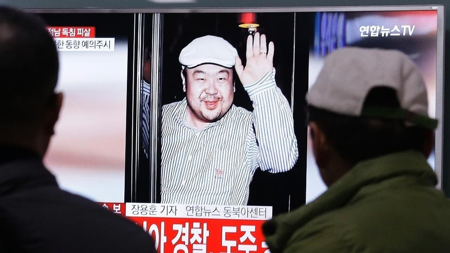 FILE - In this Tuesday, Feb. 14, 2017, file photo, a TV screen shows a picture of Kim Jong Nam, the older brother of North Korean leader Kim Jong Un, at the railway station in Seoul, South Korea. A man claiming to be the son of the slain half brother Kim Jong Nam has appeared in a YouTube video saying he's safely with his mother and sister. Kim Jong Nam was killed in Malaysia on Feb. 13. (AP Photo/Ahn Young-joon, File)