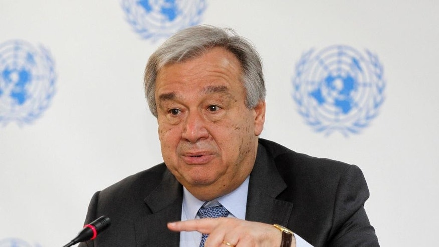 UN Secretary General Antonio Guterres speaks during press conference at UN in Nairobi, Kenya, Wednesday, March 8, 2017. The risk of genocide has considerably diminished in South Sudan which is experiencing civil strife that has led to famine in some parts, Guterres said Wednesday. (AP Photo/Khalil Senosi)