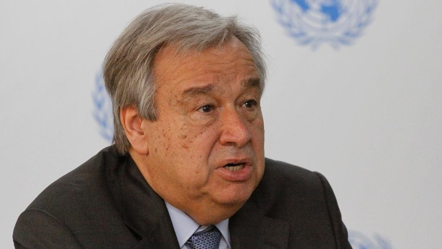UN secretary general Antonio Guterres speaks during press conference at the UN in Nairobi, Kenya, Wednesday, March 8, 2017. Guterres has called for more stable funding and support for African Union troops in Somalia which is preventing extremists from taking over the country. (AP Photo/Khalil Senosi)