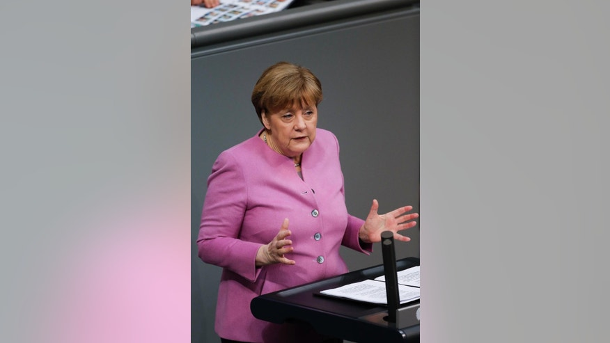 German Chancellor Angela Merkel delivers a speech on Europe ahead of an EU summit in Brussels at the German parliament Bundestag in Berlin, Germany, Thursday, March 9, 2017. (AP Photo/Markus Schreiber)