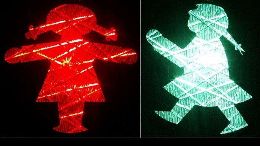 The traffic signals are similar to these lights set up in Germany.