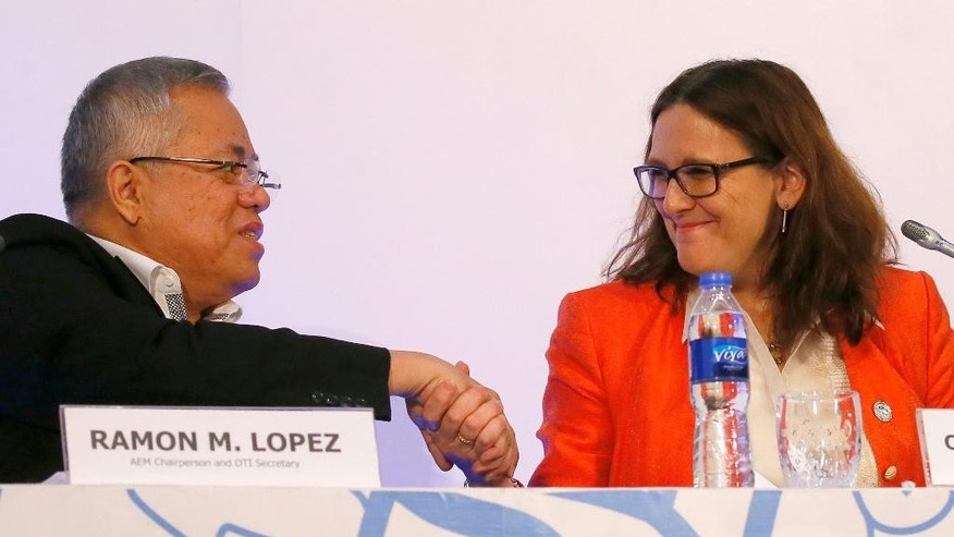 Philippine Trade and Industry Secretary and Chair of the ASEAN Economic Ministers (AEM) Meeting Ramon Lopez, left, shakes hands with European Commissioner for Trade Cecilia Malmstrom following a news conference in the 15th ASEAN Economic Ministers-European Union Trade Consultations Friday, March 10, 2017 in suburban Pasay city, south of Manila, Philippines. In their statement, the AEM-EU meeting, being hosted by the Philippines this year, various projects on trade facilitation, intellectual property rights, air transportation and statistics and integration monitoring were discussed. (AP Photo/Bullit Marquez)