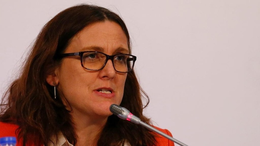"Cecilia Malmstrom, Commissioner for Trade, European Union gestures during a joint news conference with ASEAN Trade and Economic Ministers in the ongoing 15th ASEAN Economic Ministers-European Union Trade Consultations Friday, March 10, 2017 in suburban Pasay city, Philippines. In their statement, the AEM-EU meeting, being hosted by the Philippines this year, ""discussed various projects on trade facilitation, Intellectual Property Rights, air transportation and statistics and integration monitoring."" (AP Photo/Bullit Marquez)"