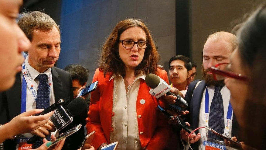 "Cecilia Malmstrom, Commissioner for Trade, European Union talks to reporters following a joint news conference with ASEAN Trade and Economic Ministers in the ongoing 15th ASEAN Economic Ministers-European Union Trade Consultations Friday, March 10, 2017 in suburban Pasay city south of Manila, Philippines. In their statement, the AEM-EU meeting, being hosted by the Philippines this year, ""discussed various projects on trade facilitation, Intellectual Property Rights, air transportation and statistics and integration monitoring."" (AP Photo/Bullit Marquez)"