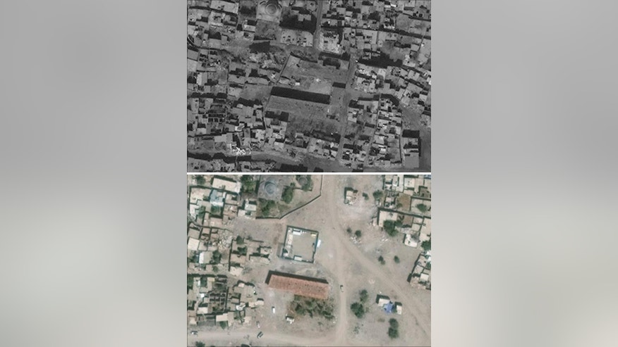 Combo from satellite photos provided by UNOSAT shows the Suleyman Nazif School in Sur in Turkey's Diyarbakir Province on June 22, 2015, top, and on March 5, 2016 bottom. In a report released Friday, March 10, 2017 the U.N. human rights office is calling on Turkey's government to investigate alleged killings and other abuses in the country's southeast in a new report decrying violations including hundreds of alleged unlawful killings and the obliteration of nearly 1,800 buildings during security force operations over 18 months. (DigitalGlobe/UNOSAT via AP)