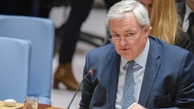 In this photo provided by the United Nations, Stephen O'Brien, the U.N's Under-Secretary-General for Humanitarian Affairs and Emergency Relief Coordinator, addresses the U.N. Security Council at U.N. headquarters, Friday, March 10, 2017. O'Brien said that the world faces the largest humanitarian crisis since the United Nations was founded in 1945, with more than 20 million people in four countries facing starvation and famine. (Manuel Elias/The United Nations via AP)