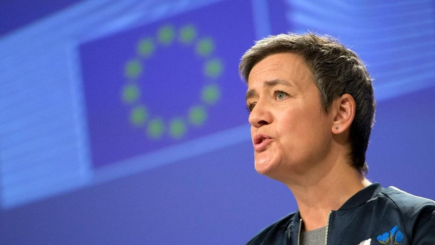 European Commissioner for Competition Margrethe Vestager speaks during a media conference regarding Gazprom at EU headquarters in Brussels on Monday, March 13, 2017. The European Commission says Russia's state-owned gas producer, Gazprom, has committed to address concerns about its market dominance in the energy supply to Eastern Europe. (AP Photo/Virginia Mayo)