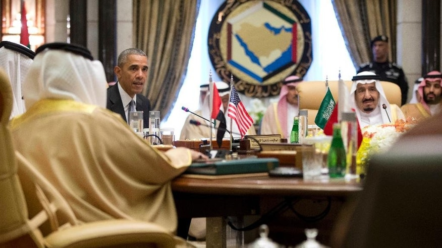 FILE- In this Thursday, April 21, 2016 file photo, President Barack Obama, with Saudi Arabia's King Salman, right, speaks after a Gulf Cooperation Council session at the Diriyah Palace in Riyadh, Saudi Arabia. When President Donald Trump meets with Saudi Arabia's Deputy Crown Prince Mohammed bin Salman at the White House in the coming days, the new commander-in-chief will be laying the groundwork for his administration's relations with a Middle Eastern powerhouse and the world's top oil exporter. (AP Photo/Carolyn Kaster, File)