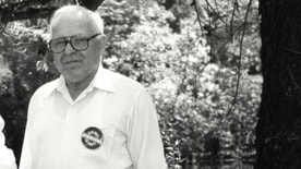 Michael Karkoc, photographed in Lauderdale, Minn. prior to a visit to Minnesota from Soviet President Mikhail Gorbachev in early June of 1990.
