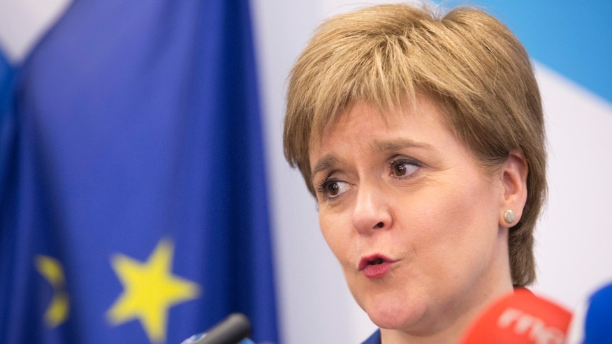 Scotland's First Minister Nicola Sturgeon speaks at the Scotland House in Brussels on Dec. 20.