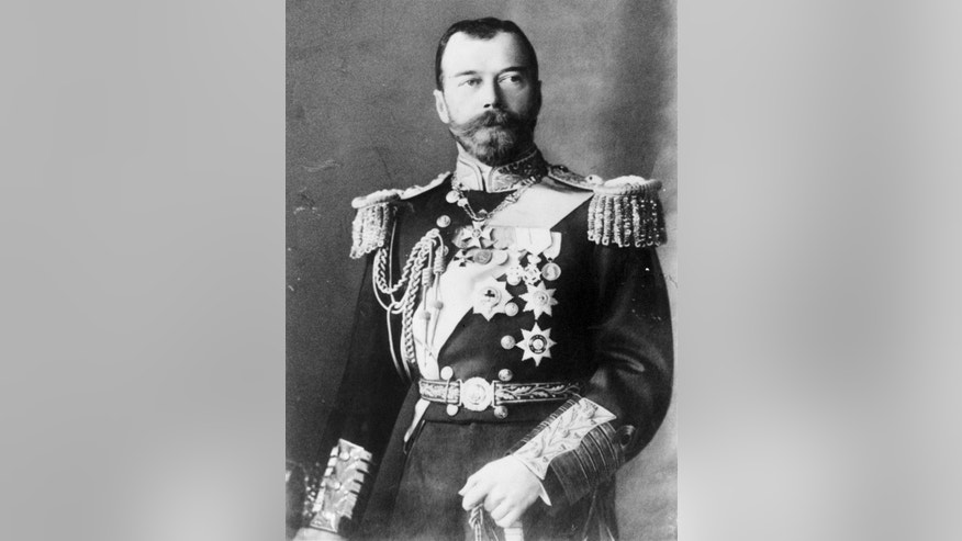 FILE - An undated file photo of Czar Nicholas II of Russia in a military uniform. The tumult that Russia endured in 1917 sent shockwaves around the world as its last czar, Nicholas II, abdicated his throne, and power was later seized by Vladimir Lenin's Bolsheviks. A century later, the anniversary is being marked with little official commemoration from the Kremlin. (AP Photo/File)