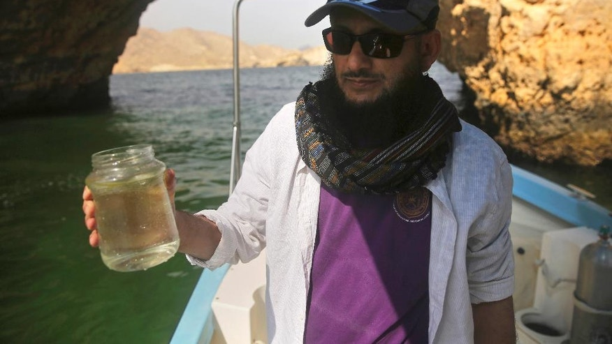 "In this Feb. 26, 2017 photo, marine biologist Khalid al-Hashmi, 50, holds a jar with a sample of an algae blooming in the Gulf of Oman. Al-Hashmi, a marine biologist at the Sultan Qaboos University in Oman, wrinkles his nose as the research vessel nears the bloom. ""Sea stench,"" he says, referring to the algae's ammonia secretions. ""It's here, you can smell it."" (AP Photo/Sam McNeil)"