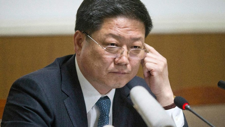 Pak Myong Ho, minister of the North Korean Embassy in China, listens to questions during a press conference in Beijing, China, Thursday, March 16, 2017. Pak says Pyongyang must act in self-defense against the U.S. and South Korea's joint military drills, which he said have brought the region to the brink of nuclear war. (AP Photo/Ng Han Guan)