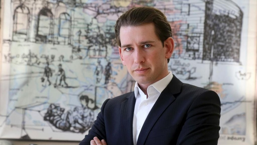 Austrian Foreign Minister Sebastian Kurz poses for a photo during an interview with The Associated Press in Vienna, Austria, Friday, March 17, 2017. Kurz sees reforms that shift power on many issues to members from EU bodies as essential for EU survival. And he says he measure the success of Austria's EU presidency in the second half of 2018 on that score. (AP Photo/Ronald Zak)
