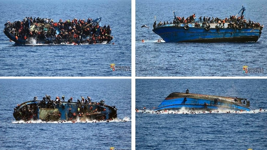 FILE - In this four-picture combo a boat overturns as people try to jump in the water off the Libyan coast on May 25, 2016. The Italian navy says it recovered a few bodies from the overturned migrant ship, while some 500 migrants who were on board were rescued safely. Migrant deaths rose sharply in 2016, particularly in the Mediterranean despite more rescue efforts and fewer people attempting the journey, as smugglers made ever-riskier attempts on increasingly unseaworthy vessels, according to new United Nations statistics released Friday, March 17, 2017.  (Italian navy via AP, File)