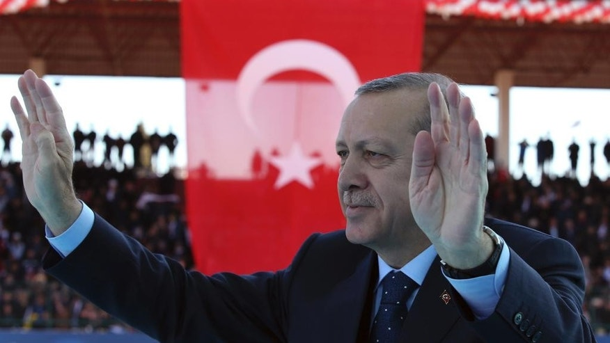 Turkey's President Recep Tayyip Erdogan salutes as he arrives to attend a ceremony marking the 102nd anniversary of Gallipoli campaign, in the Aegean port of Canakkale, near Gallipoli where troops under British command landed in 1915, Saturday, March 18, 2017. Turkish leaders, soldiers and flag-waving spectators are commemorating a World War I campaign in which Ottoman armies held off an Allied expeditionary force, a bloody event that helps to underpin staunch nationalism in Turkey today.(Kayhan Ozer/Presidential Press Service, Pool Photo via AP)