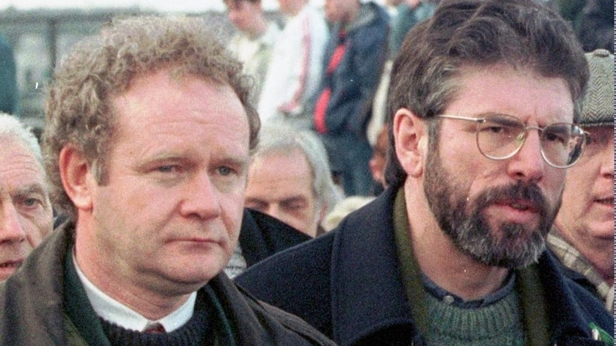 Martin McGuinness, left, and Sinn Fein's president Gerry Adams in 1998.