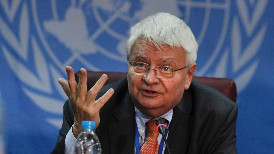 U.N. peacekeeping chief Herve Ladsous speaks to the media in Juba, South Sudan, Tuesday, March 21, 2017. The first units of a long-delayed regional protection force for South Sudan will deploy within a few weeks, Ladsous said Tuesday during a visit to the country's capital. (AP Photo/Bullen Chol)