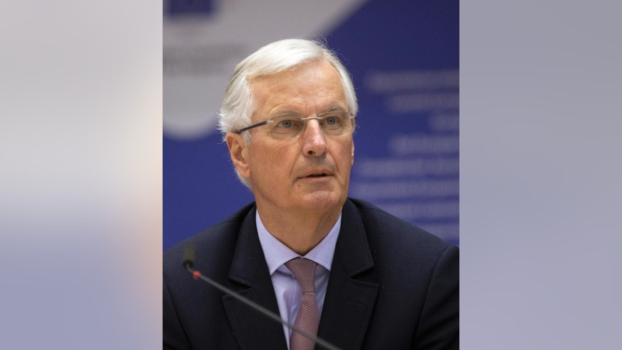 "European Chief Negotiator of the Task Force for the Preparation and Conduct of the Negotiations with the United Kingdom under Article 50, Michel Barnier, speaks during a meeting of the Committee of the Regions at the European Parliament in Brussels on Wednesday, March 22, 2017. The European Union's chief negotiator warned Britain Wednesday of ""serious consequences for everyone"" if the two sides fail to clinch a deal on the U.K.'s departure from the 28-nation bloc within two years. (AP Photo)"