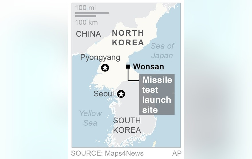 Map locates Wonsan, North Korea; 1c x 2 inches; 46.5 mm x 50 mm;