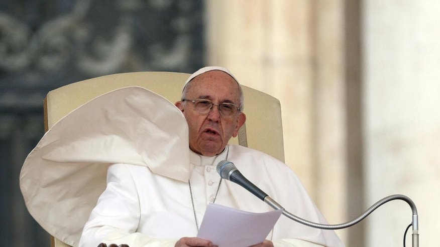 Pope Francis delivers his speech during the weekly general audience he held in St. Peter's Square at the Vatican, Wednesday, March 22, 2017. (AP Photo/Gregorio Borgia)
