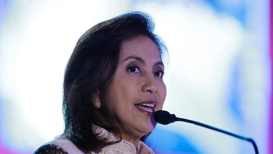 "Philippine Vice President Maria Leonor ""Leni"" Robredo delivers her speech during the 16th National Convention of the Integrated Bar of the Philippines in Pasay, south of Manila, Philippines on Thursday, March 23, 2017. House Speaker Pantaleon Alvarez recently said, he is mulling to file impeachment complaint against Robredo for sending a video message to the United Nations Side Session at the Commission on Narcotic Drugs Annual Meeting allegedly criticizing extra-judicial killings in the so-called war on drugs by President Rodrigo Duterte. Duterte himself is the object of an impeachment complaint filed by another congressman for the thousands of alleged killings in the country. (AP Photo/Aaron Favila)"