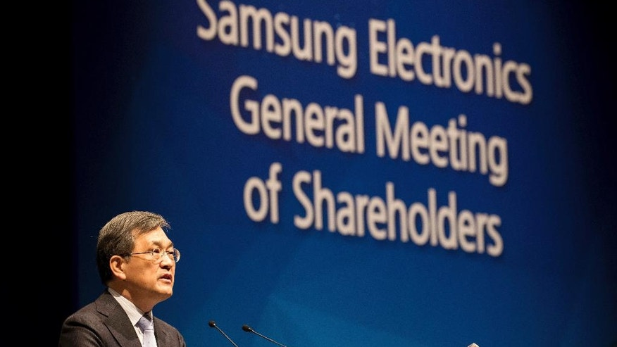 Kwon Oh-hyun, co-vice chairman and co-chief executive officer of Samsung Electronics Co., speaks during the company's annual general meeting at the Seocho office building in Seoul, South Korea, Friday, March 24, 2017. (SeongJoon Cho/Pool Photo via AP)
