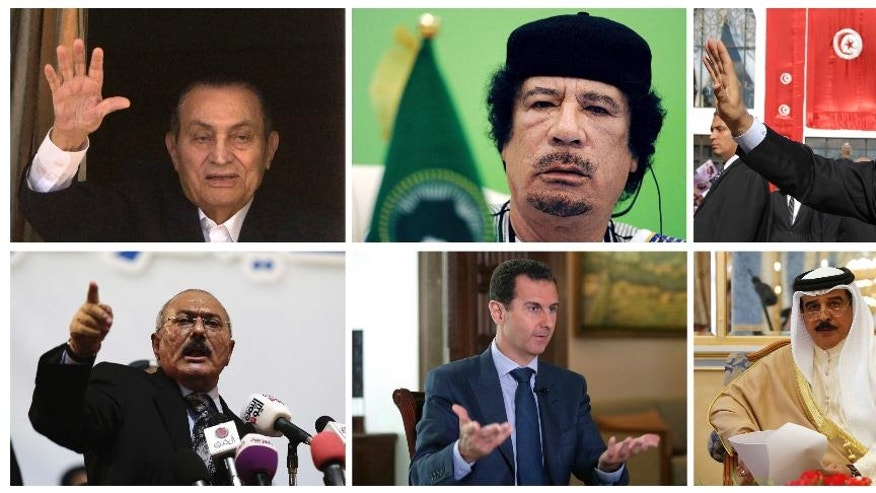 This combo photo showing, top from left to right, ousted Egyptian President Hosni Mubarak, former Libyan leader Moammar Gadhafi, and former Tunisian President Zine El Abidine Ben Ali, bottom from left to right, former Yemen's President Ali Abdullah Saleh, Syrian President Bashar Assad, and Bahrain's King Hamad bin Isa al Khalifa. Egypt's ousted former leader Hosni Mubarak is released after six years in prison, but he is not the only ruler in the Middle East to be caught up in Arab Spring uprisings that swept across the region since 2011. Exiled, killed or fighting for survival, here's a look at the fate of other Arab leaders and where they are now. (AP Photos)