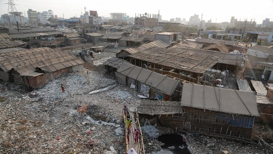In this Monday, Feb. 6, 2017 photo, a view of the highly polluted Hazaribagh tannery area is seen in Dhaka, Bangladesh. Pure Earth a nongovernmental organization that addresses industrial pollution put Hazaribagh on its Top 10 list of polluted places, along with Chernobyl, although similar problems of pollution and dangerous working conditions exist at tannery clusters in the Philippines and India as well. (AP Photo/A.M. Ahad)