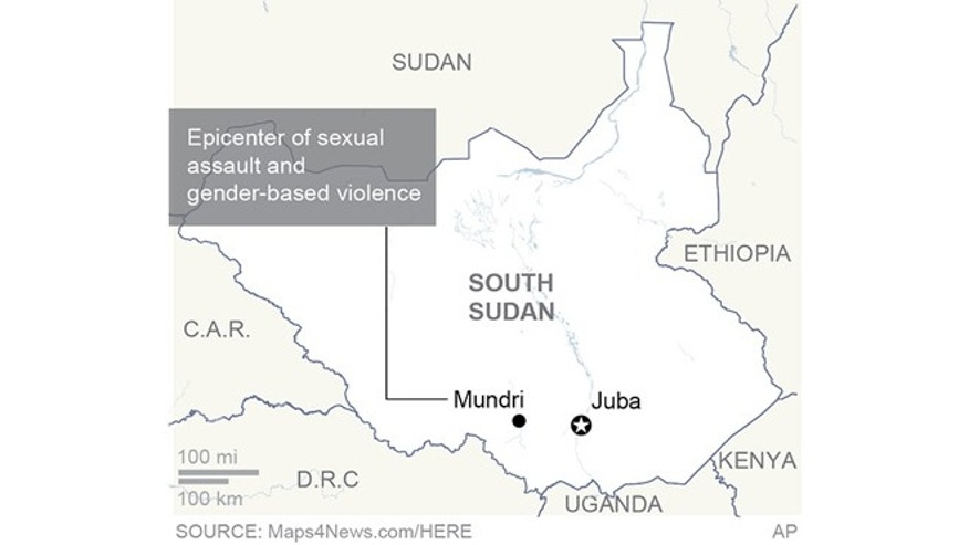 Map locates Mundri, South Sudan, the epicenter of a spike in sexual assaults in the country.