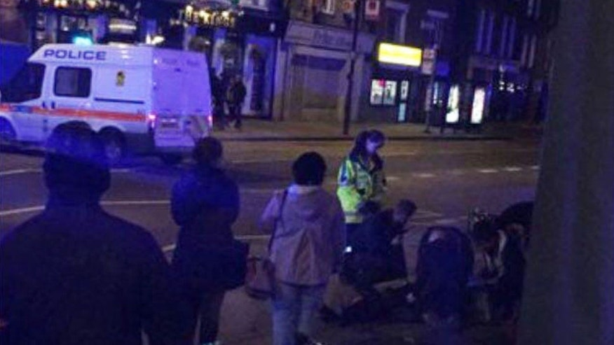 A car hit several pedestrians in Islington, north London late Saturday, leaving four people injured.
