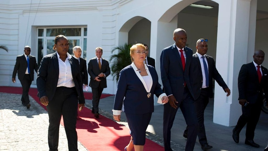 Chile leader visits Haiti as UN prepares for troop pullout