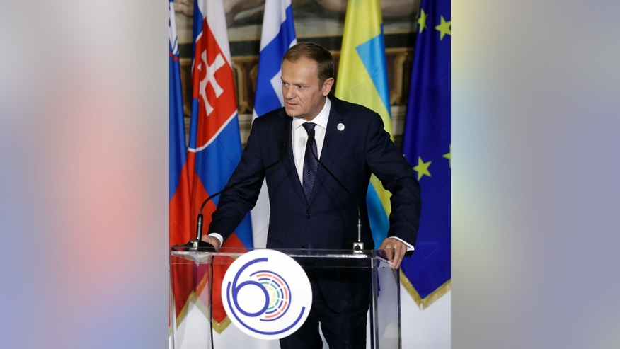European Council President Donald Tusk speaks to EU leaders during an EU summit meeting at the Orazi and Curiazi Hall in the Palazzo dei Conservatori in Rome on Saturday, March 25, 2017. European Union leaders were gathering in Rome to mark the 60th anniversary of their founding treaty and chart a way ahead following the decision of Britain to leave the 28-nation bloc. (AP Photo/Alessandra Tarantino)