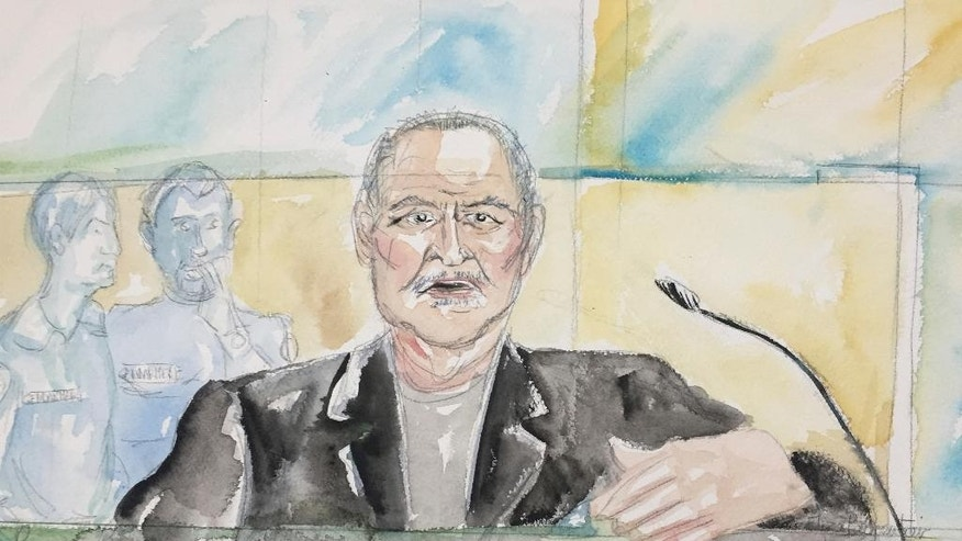 "This courtroom sketch dated Tuesday, March 28, 2017, shows Venezuelan-born Ilich Ramirez Sanchez known as ""Carlos the Jackal"" during his trial at a Paris courthouse, France. The man known as ""Carlos the Jackal,"" once the world's most-wanted fugitive, has asked a French court to ""take the only right decision"" before the five judges went behind closed doors to rule whether he's guilty of a deadly 1974 attack on a Paris shopping arcade. (Eliza Parmentier via AP)"