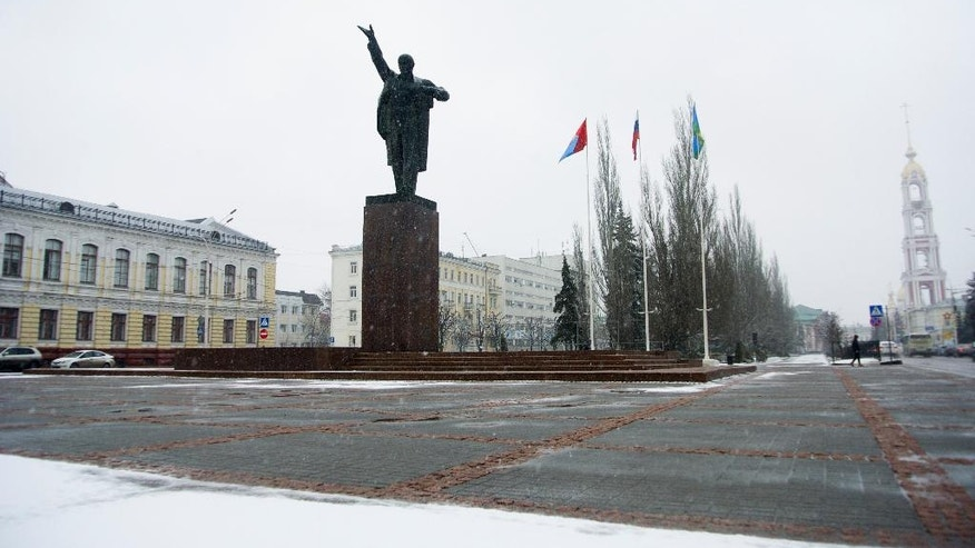 Opposition In this photo taken on Tuesday, March 28, 2017, the statue to Soviet leader Vladimir Lenin stands on the main square in Tambov, Russia. A nationwide wave of anti-corruption demonstrations has engulfed this sleepy city more than 400 kilometers south-east of Moscow among other provinces previously untouched by opposition rallies, where young people who shun state owned TV programs for online entertainment are leading protests against corruption.  (AP Photo/Nataliya Vasilyeva)
