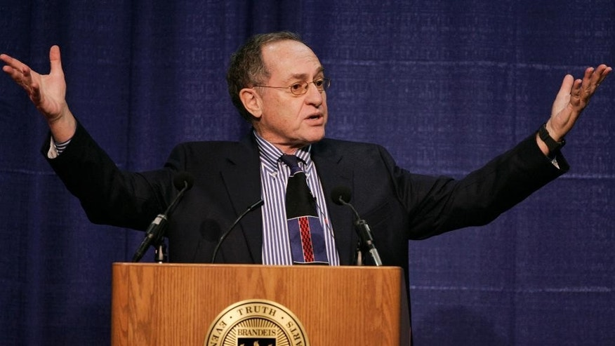 "FILE -- In this Jan. 23, 2007 file photo, Harvard law professor Alan Dershowitz addresses an audience at Brandeis University, in Waltham, Mass. Dershowitz told Israel Army Radio on Thursday, March 30, 2017, that President Trump, in a conversation with him this month, spoke to him ""clearly"" about a two-state solution to the Israeli-Palestinian conflict that would lead to an independent Palestinian state. Trump broke with longtime U.S. policy last month when he withheld clear support for an independent Palestine alongside Israel, declaring he could endorse a one-nation solution. (AP Photo/Steven Senne, File)"